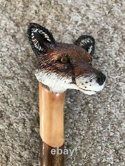 Stunning Hand Carved Fox headed Hazel Shafted 50 Walking Stick by Ian Taylor