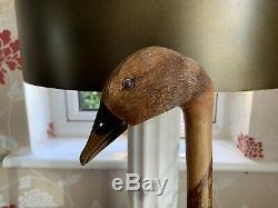 Stunning Hand Carved Goose Head Hazel Shafted 132cm Walking Stick by Ian Taylor
