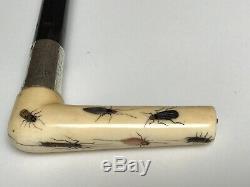 Superb Antique Japanese Shibayama Walking Cane/Stick