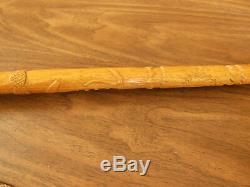 Superb Century Old Odd Fellows Symbol Carved Hardwood Walking Stick / Cane