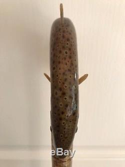 Superb Hand Carved Rams Horn Salmon 53 Hazel Shaft Walking Stick by Ian Taylor