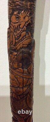 Superb Japanese Samurai & Dragon carved Bamboo Meiji walking stick
