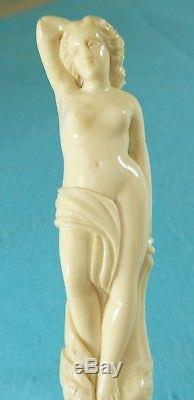 Superb Quality Victorian Novelty Walking Stick Cane Carved Lady Handle Ca 1870