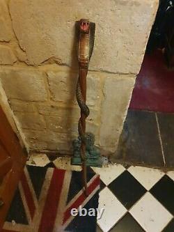Superb Vintage Hand Carved King Cobra Walking Stick 42 Inches