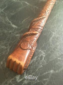 Superb Ww1 1914-1915 Carved Pow Walking Stick Snake Trench Watch Fist Design