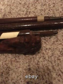 TRAVELERS CANE Chinese Hand Carved Hardwood Cane Walking Stick DRAGON Motif 4 pt