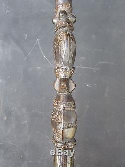 Trobriand Island Papua New Guinea Antique Carved Ebony Walking Stick 1900s