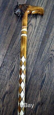 Unique Wooden Walking Stick Cane Hiking Staff hand carved Handmade Bison