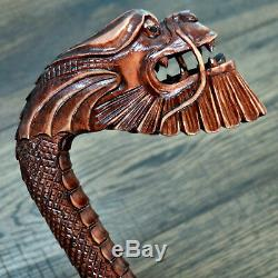 Unique Wooden Walking Stick Cane Hiking Staff hand carved Handmade Dragon Rich