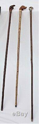 Unique collection of vintage hand carved walking sticks, crooks, shooting sticks
