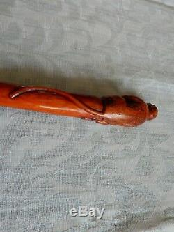 Unusual 19th Century Carved Baboon Top 1 piece walking stick, from an estate