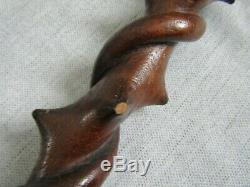 Unusual Carved Walking Stick Cane Twisted Snakes Briars Thorns 88cm Folk Art