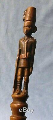 VINTAGE AFRICAN KAMBA STAFF/ WALKING STICK with CARVED SOLDIER