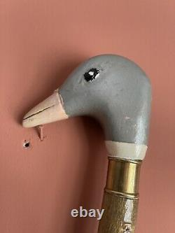 Victorian 97cm Full Size Natural Painted Carved Ducks Head Walking Stick