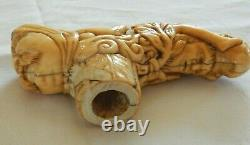 Victorian Antique Nude Lady Men Bone Heavily Carved Walking Stick Cane Handle