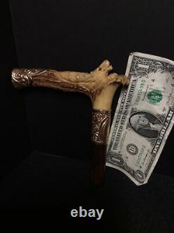 Victorian Carved Stag Walking Stick/ Parasol/ Cane Handle with Gold Filled Mounts