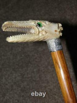 Victorian Hallmarked 1890 Silver Walking Cane WithIntricate Hand Carved Dragon Top