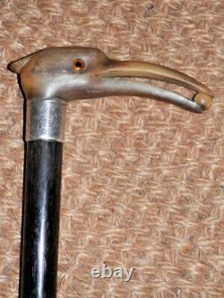 Victorian Hand-Carved Bovine Horn Heron Top Walking Stick/Cane H/M Silver 1891