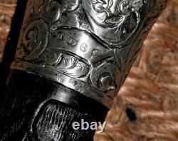 Victorian Hand-Carved Clover Irish Bog Oak Walking Stick/Cane H/M Silver-1885