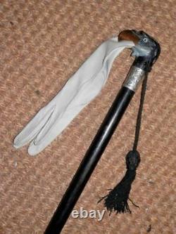 Victorian Hand-Carved Eagle Mechanical Glove Holder Walking Stick Silver 1892