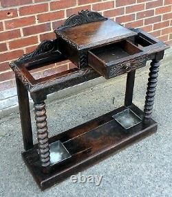 Victorian antique gothic solid carved oak 1 drawer walking stick hallstand