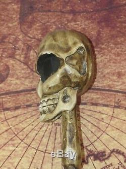 Vintage 5' Ft Skeleton Carved Wood Walking Stick with Alien Head Halloween Prop