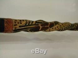 Vintage AFRICAN CARVED-ELEPHANT-LIONS-LEOPARD- Cane, Walking Stick