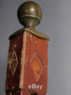 Vintage African American Folk Art Carved SNAKE Cane Walking Stick captured ball