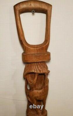 Vintage African Inspired Hand Carved Wood Elephant Gazel Cane Walking Stick 38