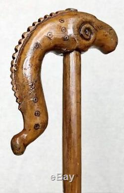 Vintage Antique 1800 American Folk Art Carved Wood Maple Walking Stick Cane Old