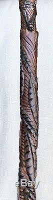 Vintage Antique 1800 Americana Folk Art Carved Wood Walking Stick Cane Old