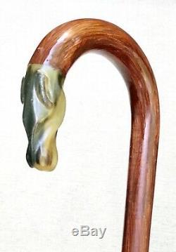 Vintage Antique 1800 Carved Horn Horse Head Crook Handle Walking Stick Cane Old