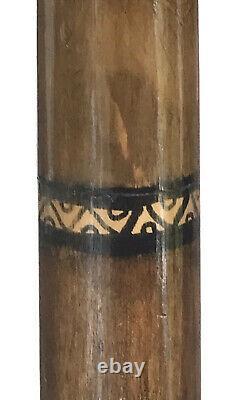 Vintage Antique 1800 Carved Wood Dog Head Horn TipCrook Walking Stick Cane Old