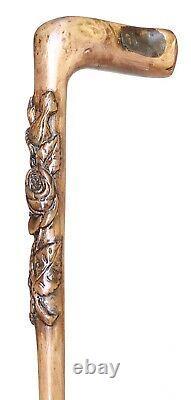 Vintage Antique 1800Art Deco Natural Carved Wood L-Shape Walking Stick Cane Old