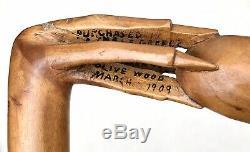 Vintage Antique 1909 Kepkypa Corfu Greece Carved Olive Wood Walking Stick Cane