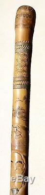 Vintage Antique 1930 Chinese Japanese Asian Carved Wood Walking Stick Cane Old