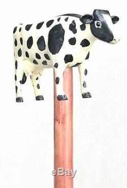Vintage Antique 1988 Ralph BuckWalter Folk Art Carved Wood Walking Stick Cane
