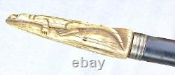 Vintage Antique 19C Carved Antler Stag Cigarette Paper Shaft Walking Stick Cane