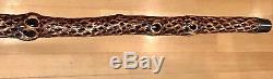 Vintage Antique 19C Carved Wood Snake Type Knob Swagger Walking Stick Cane Old