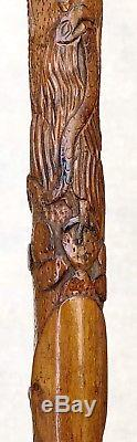 Vintage Antique 19C Mexican Aztec Coat Of Arms Carved Wood Walking Stick Cane