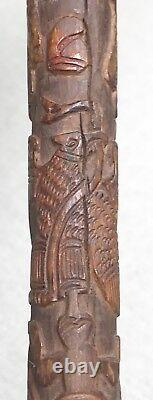 Vintage Antique 19C Mexican Coat Of Arms Carved Wood Swagger Walking Stick Cane