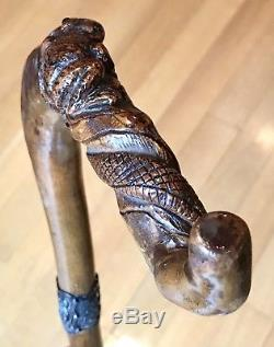 Vintage Antique 19C Solid Silver Carved Wood Snake&Frog Walking Stick Cane Old