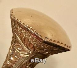 Vintage Antique 19C Walking Stick Cane Gold Filled Handle Carved Wood Horn Old