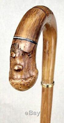 Vintage Antique American Art Deco Carved Wood Crook Handle Walking Stick Cane