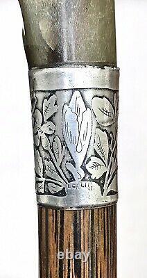 Vintage Antique Carved Goat Horn Hallmark Sterling Silver Walking Stick Cane Old