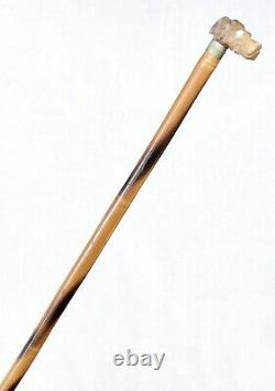 Vintage Antique Carved Horn Dogs Head Handle Swagger Pointer Walking Stick Cane