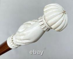 Vintage Antique Carved Resin Shaking Hands Fancy Knob Walking Stick Cane Old