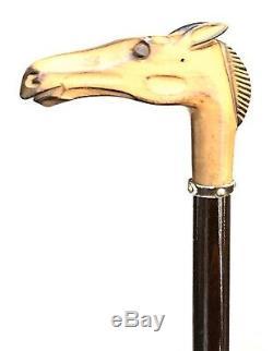Vintage Antique Carved Wood Horse Head Horn Tip Walking Stick Cane Old 36L