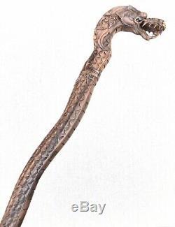 Vintage Antique Chinese Carved Wood Folk Art Dragon Walking Stick Cane Old