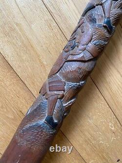 Vintage Antique Chinese Japanese Asian Carved Wood Walking Stick Cane Old